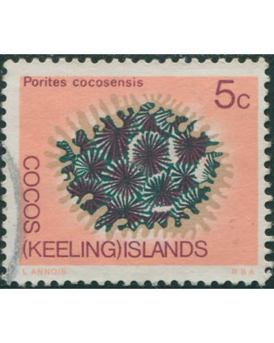 Cocos Islands 1969 SG12 5c Porites Coral FU