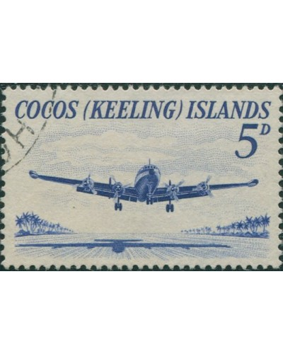 Cocos Islands 1963 SG2 5d Lockheed airliner FU