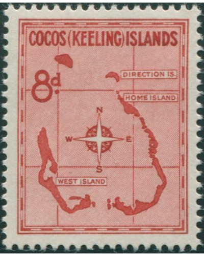 Cocos Islands 1963 SG3 8d Map MNH