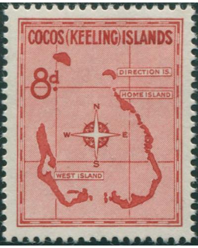 Cocos Islands 1963 SG3 8d Map MNH