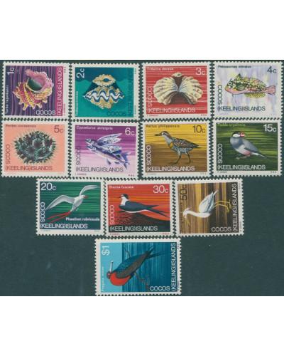 Cocos Islands 1969 SG8-19 Shells Birds Fish set MNH