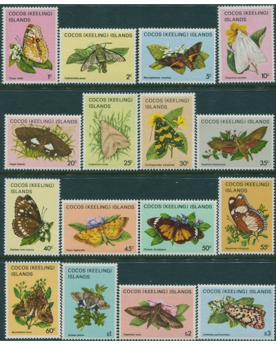 Cocos Islands 1982 SG84-99 Butterflies set MNH