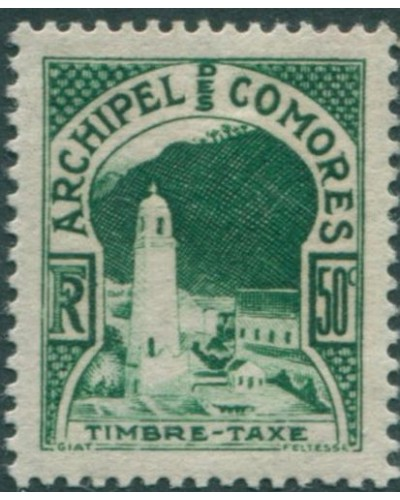 Comoro Islands postage due 1950 SGD16 50c Mosque MH