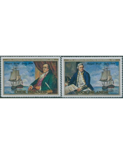 Cook Islands 1976 SG544-545 Royal Visit American Revolution set MNH