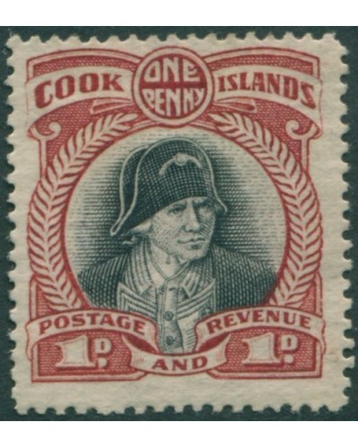 Cook Islands 1932 SG100 1d black and lake Captain Cook MNG