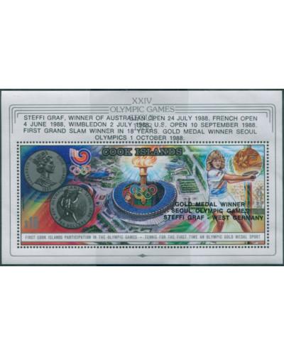 Cook Islands 1988 SG1207 Olympics Tennis Medal Winners MS MNH