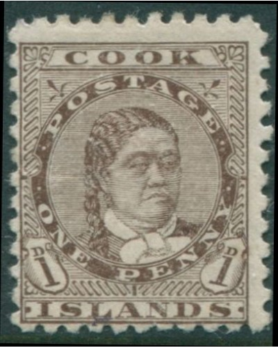 Cook Islands 1893 SG13 1d deep brown Queen Makea Takau p11 MH
