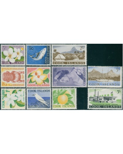 Cook Islands 1963 SG163-173 Flowers Birds Buildings Fish MLH