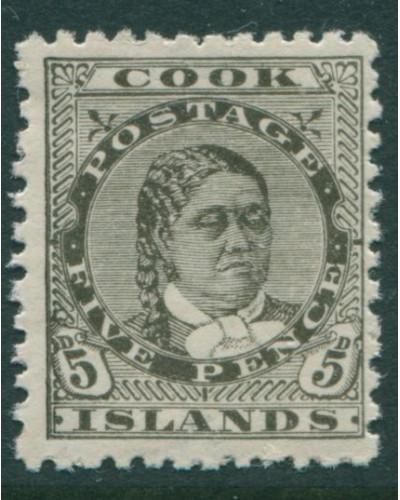Cook Islands 1893 SG17 5d olive-black Queen Makea Takau p11 MLH