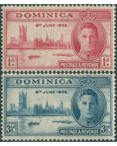 Dominica 1946 SG110-111 Victory set MH
