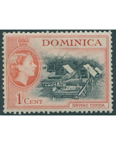 Dominica 1954 SG141 1c black and red Drying Cocoa QEII MLH