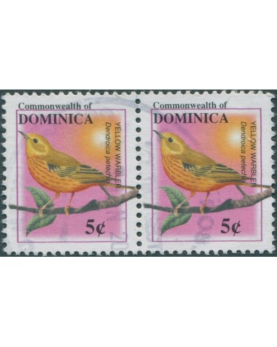 Dominica 2001 SG3128 5c Yellow Warbler pair FU