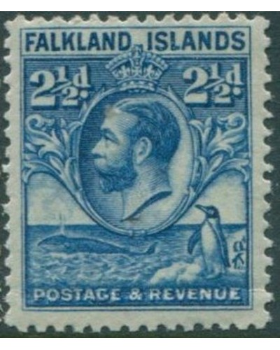 Falkland Islands 1929 SG119 2½d blue KGV Whale Penguins crease MNH