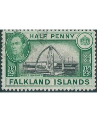 Falkland Islands 1938 SG146 ½d black and green KGVI Whale Jaw Bones FU