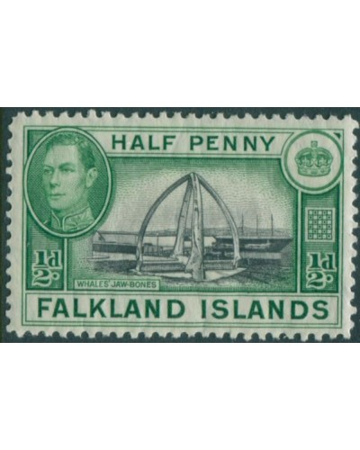 Falkland Islands 1938 SG146 ½d black and green KGVI Whale Jaw Bones MLH