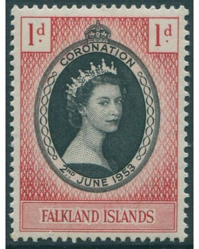 Falkland Islands 1953 SG186 1d black and red Coronation QEII MLH