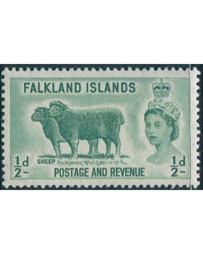 Falkland Islands 1955 SG187 ½d green Sheep QEII MLH