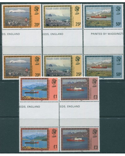 Falkland Islands 1978 SG341B-345B Mail Ships with date (5) gutter pairs MNH