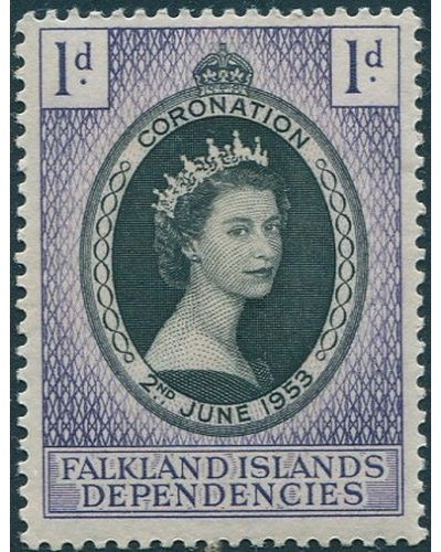 Falkland Islands dependencies 1953 SGG25 1d black and violet Coronation MLH