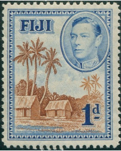 Fiji 1938 SG250 1d brown and blue Huts KGVI P12½ MH
