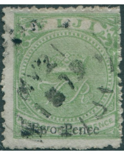 Fiji 1876 SG29 Two Pence on 3d pale green Crown and VR FU