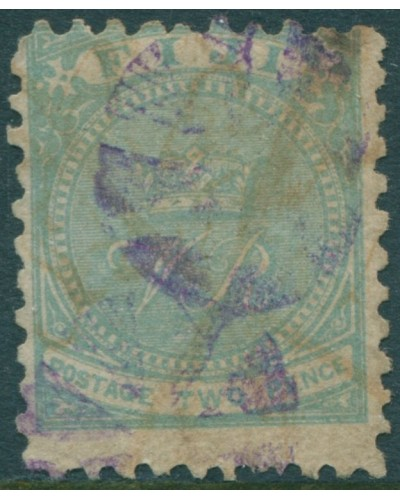 Fiji 1881 SG40a 2d blue-green Crown and VR p10 FU