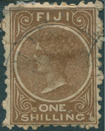 Fiji 1881 SG64a 1/- deep brown Queen Victoria p10 FU