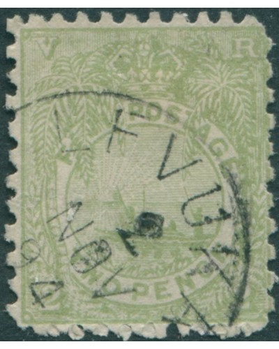 Fiji 1893 SG83 2d green Native Canoe p11x10 FU