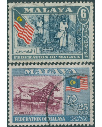 Malaysia Malaya 1957 SG1-3 Tapping Rubber and Tin Dredge FU