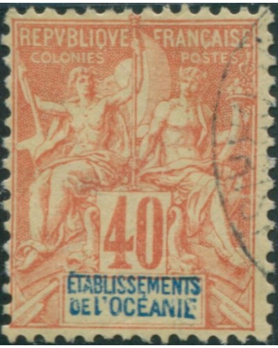 French Oceania 1892 SG10 40c red and blue on yellow navigation and commerce FU