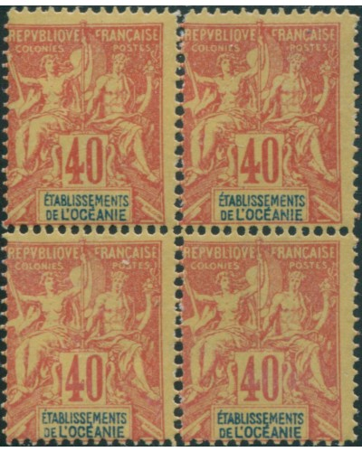 French Oceania 1892 SG10 40c red and blue on yellow navigation block FOURNIER FORGERY MNH