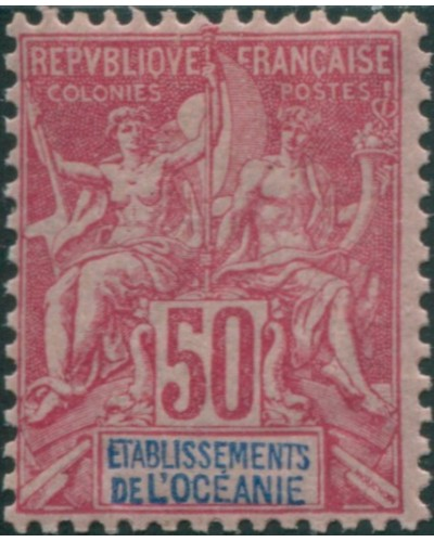French Oceania 1892 SG11 50c red and blue on pink navigation and commerce MH