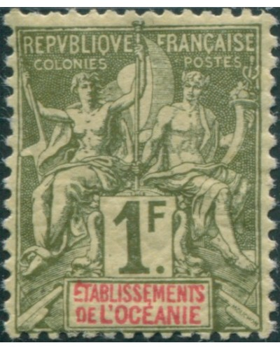 French Oceania 1892 SG13 1f green and red navigation and commerce MH