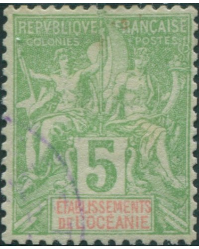 French Oceania 1892 SG14 5c green and red navigation and commerce FU