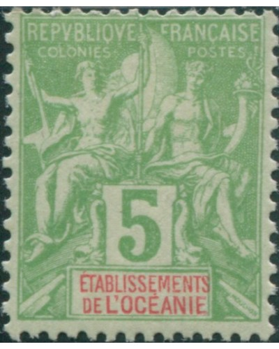 French Oceania 1892 SG14 5c green and red navigation and commerce MH