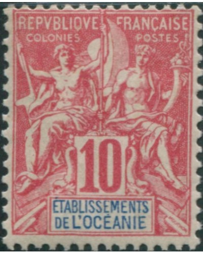 French Oceania 1892 SG15 10c red and blue navigation and commerce MLH