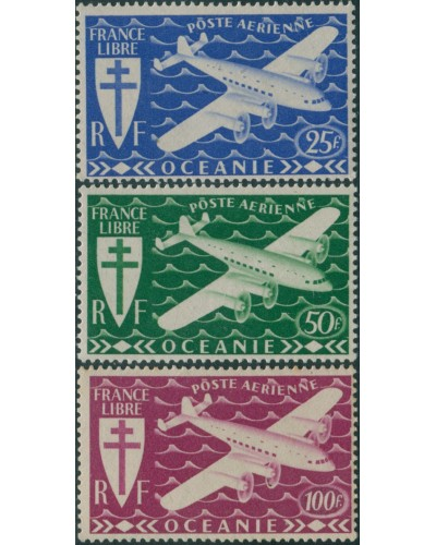 French Oceania 1942 SG165-167 Airplane MLH
