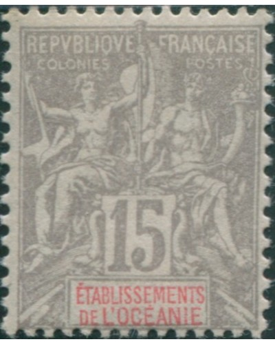 French Oceania 1892 SG16 15c grey and red navigation and commerce MLH