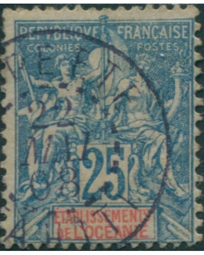 French Oceania 1892 SG17 25c blue and red navigation and commerce FU