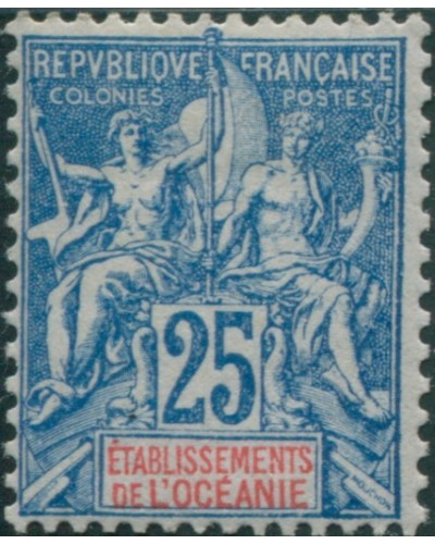 French Oceania 1892 SG17 25c blue and red navigation and commerce MH
