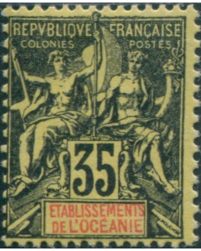 French Oceania 1892 SG18 35c black and red on yellow navigation and commerce MLH