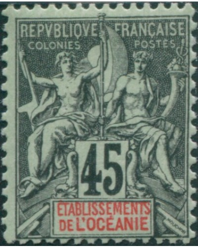 French Oceania 1892 SG19 45c black and red on green navigation and commerce MLH