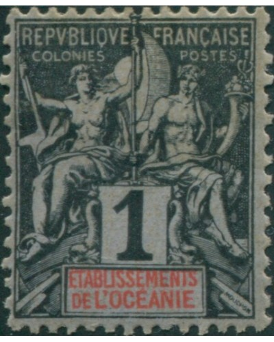 French Oceania 1892 SG1 1c and red on blue navigation and commerce MH