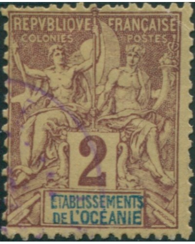 French Oceania 1892 SG2 2c brown and blue on buff navigation and commerce FU