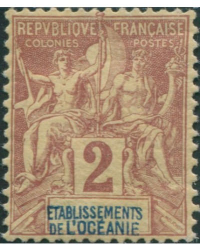 French Oceania 1892 SG2 2c brown and blue on buff navigation and commerce MH