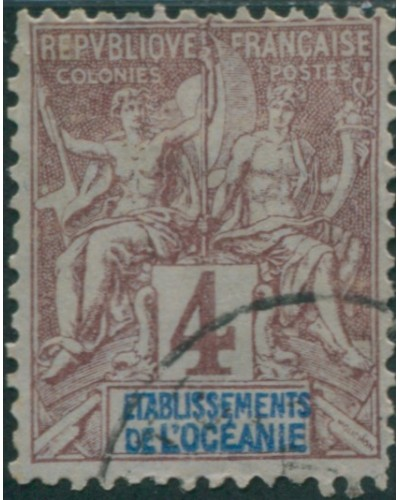 French Oceania 1892 SG3 4c brown and blue on grey navigation and commerce FU