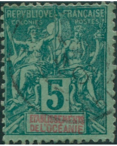 French Oceania 1892 SG4 5c deep green and red on green navigation FU