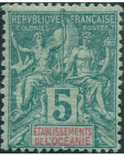 French Oceania 1892 SG4 5c deep green and red on green navigation MH