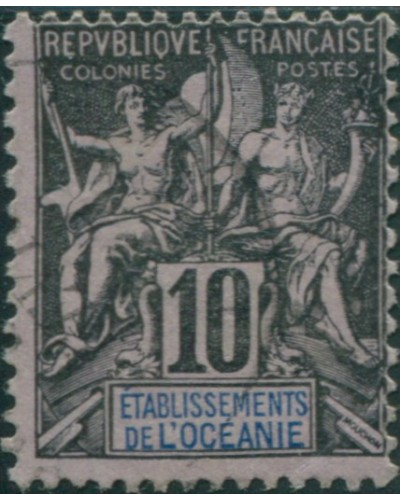 French Oceania 1892 SG5 10c black and blue on lilac navigation and commerce FU
