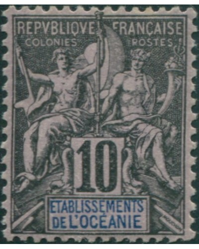 French Oceania 1892 SG5 10c black and blue on lilac navigation and commerce MH